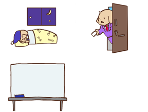 睡眠・営業・ホワイトボードのイメージ